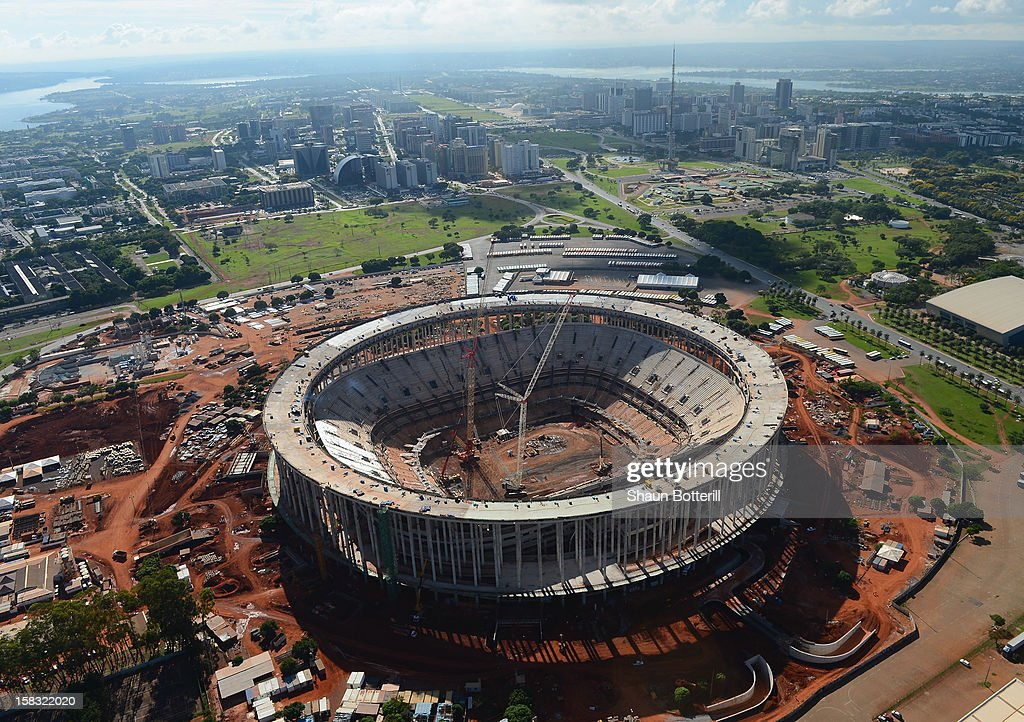 An aerial view of the National Stadium of Brasilia venue for the 2014 FIFA World Cup on December 12, 2012 in Brasilia, Brazil.