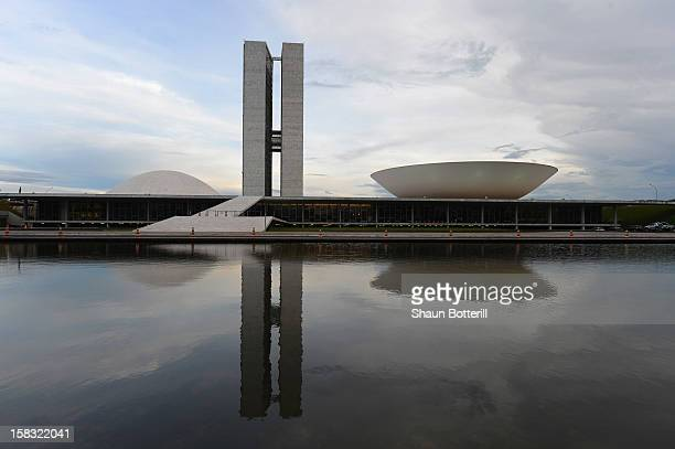 An aerial view of the National Stadium of Brasilia venue for the 2014 FIFA World Cup on December 12 2012 in Brasilia Brazil
