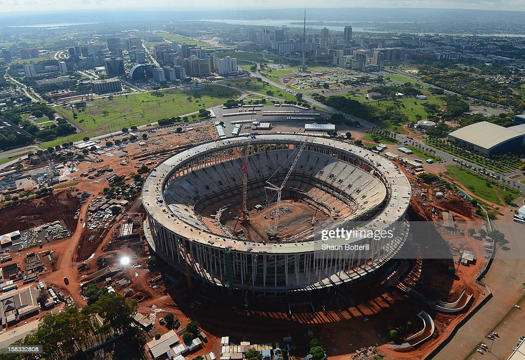 An aerial view of the National Stadium of Brasilia venue for the 2014 FIFA World Cup on December 13, 2012 in Brasilia, Brazil.