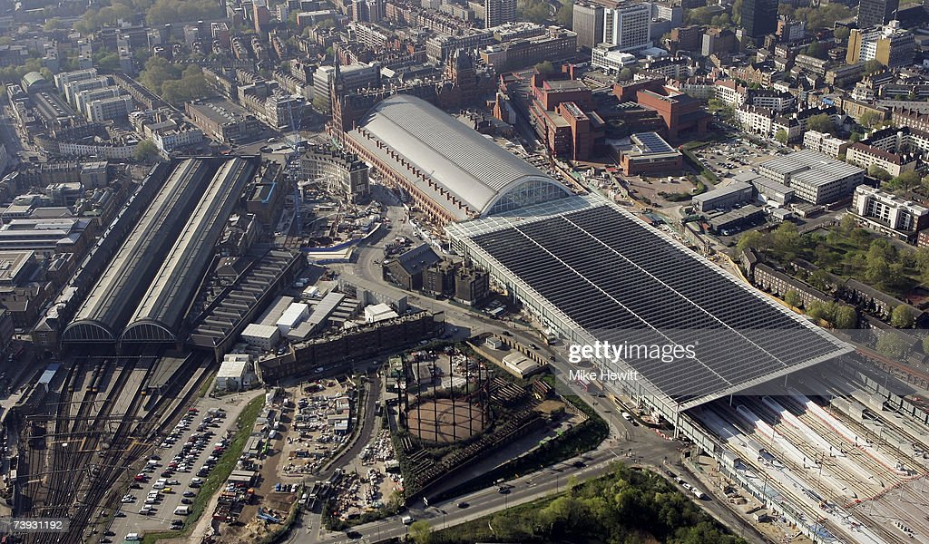 An aerial view of the new Eurostar passenger terminal at St Pancras Station on April 20, 2007 in London, England.