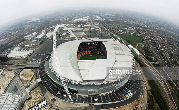 An aerial view of the new Wembley Stadium during the England U21 v Italy U21 friendly match on March 24 2007 in London England