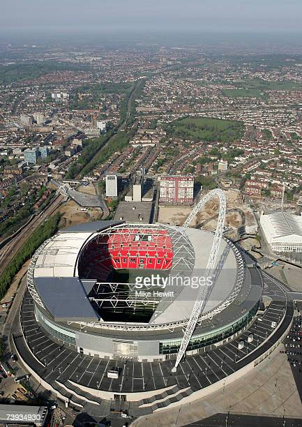 An Aerial view of the new Wembley Stadium on April 20 2007 in Wembley northwest London England The stadium has a capacity of 90000 and will host next...