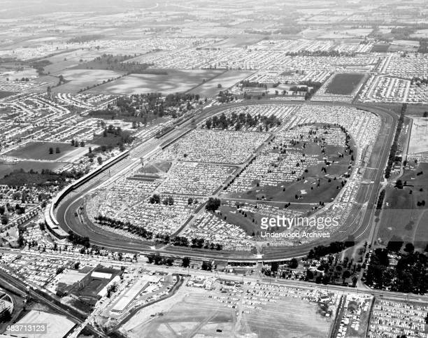 An aerial view of the of the Indianapolis 500 race track on Memorial Day Indianapolis Indiana 1961