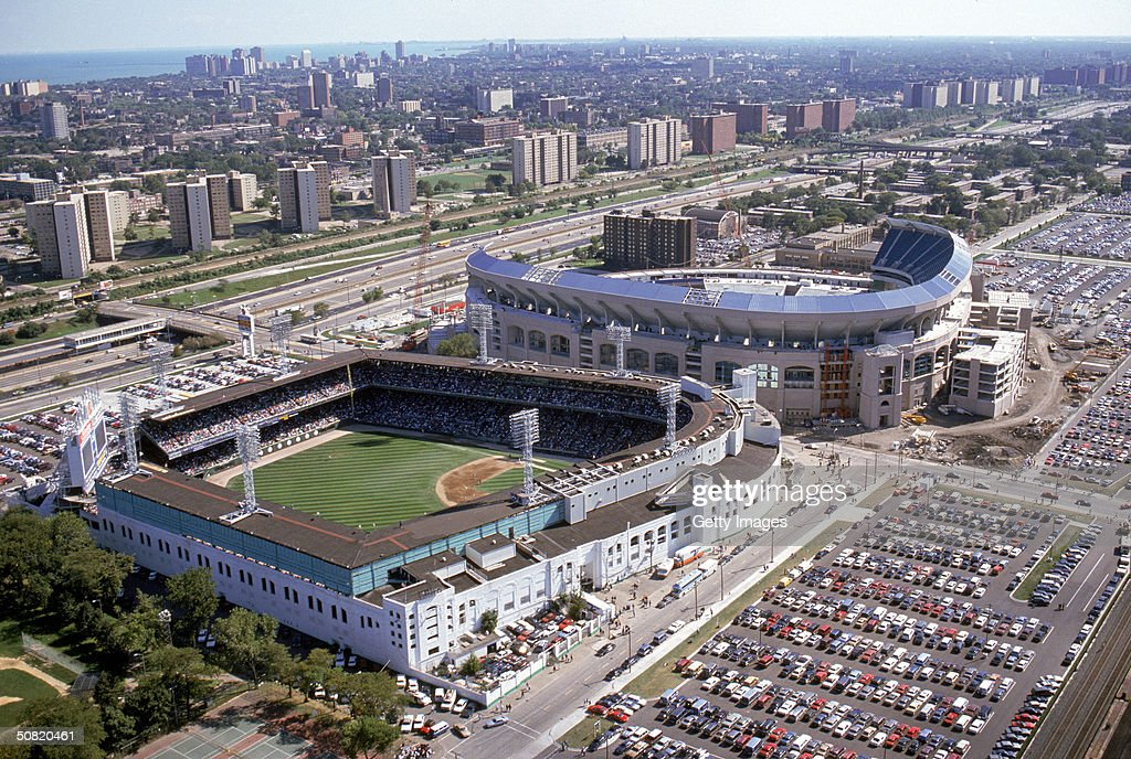 An aerial view of the old and new Comiskey Parks circa 1990 in Chicago Illinois