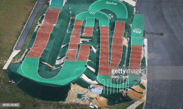 An aerial view of the Olympic BMX track on March 17 2017 in Rio de Janeiro Brazil Seven months after the Rio hosted the first Olympic games in South...
