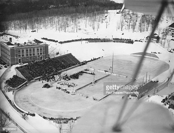 An aerial view of the Olympic Stadium during the opening ceremony of the Winter Olympic Games at Lake Placid New York USA 4th February 1932