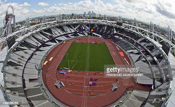 An aerial view of the Olympic Stadium inside the Olympic Park taken on August 2 2012 on the eve of the start of the athletics competitions of the...