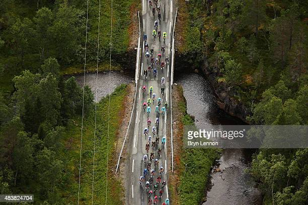 An aerial view of the peloton during stage one of the 2015 Arctic Race of Norway a 2135km from Harstad to Harstad on August 13 2015 in Harstad Norway