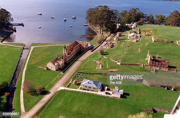 An aerial view of the Port Arthur historic site where 35 people were shot and killed by a lone gunman during the Port Arthur massacre Tasmania 30...