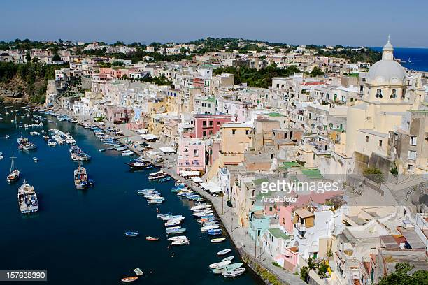 An aerial view of the Procida Fishermans Village in Italy