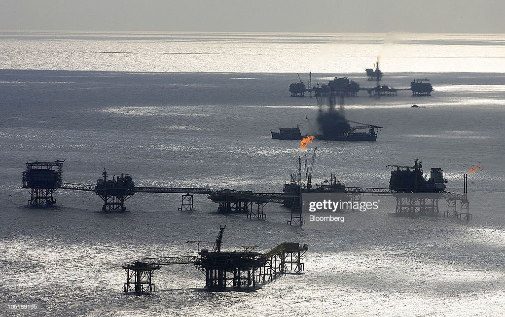 An aerial view of the production oil rigs owned by Mexican oil company Pemex located 65 miles northeast of Ciudad del Carmen Campeche in the Gulf of...