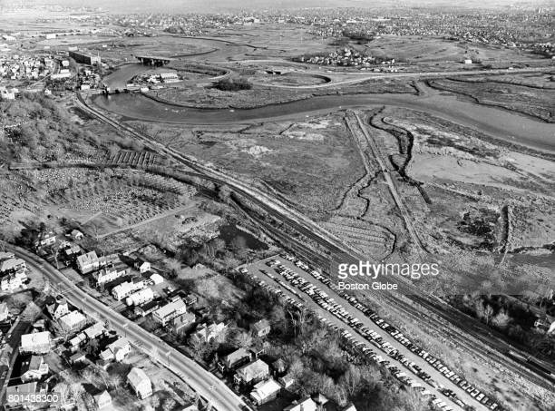 An aerial view of the proposed site of new MBTA car barns on marshland in Milton Mass Dec 14 1967