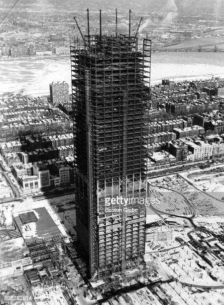 An aerial view of the Prudential Center construction in Boston Jan 29 1963