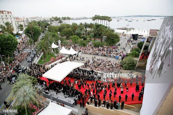 An aerial view of the red carpet is pictured during the premiere arrivals for the film 'We Own The Night' at the Palais des Festivals during the 60th...