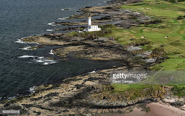 An aerial view of the redesigned par 3 9th hole of the Ailsa Course at the Trump Turnberry Resort on July 13 2016 in Turnberry Scotland