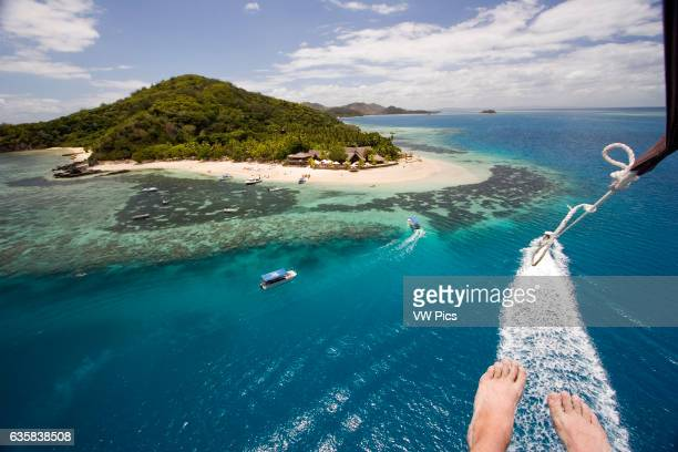 An aerial view of the reef off Castaway island in the Mamanuca Region of Fiji