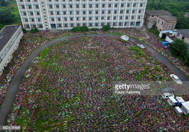 An aerial view of the rental bikes detained by the local urban administration authority of Luyang district in Hefei in Anhui province on August 16...