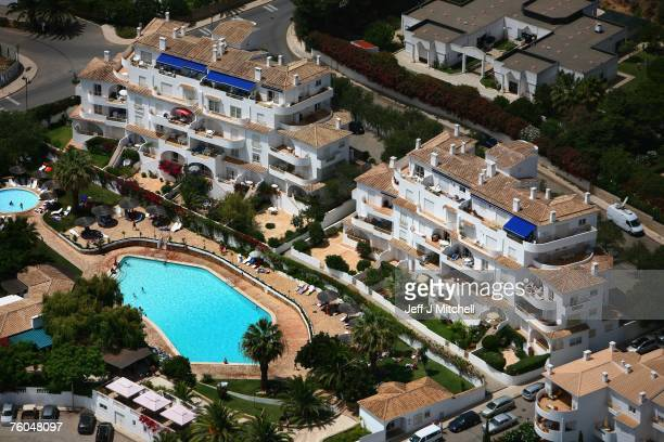 An aerial view of the resort and surrounding area where Madeleine McCann went missing August 10 2007 in Praia da Luz Portugal Police are continuing...