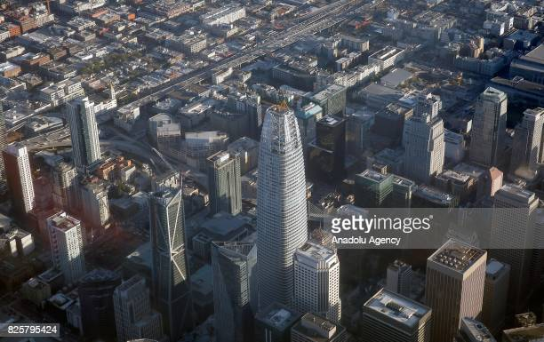 An aerial view of The Salesforce Tower which will be the tallest building with its 326 metres tall in San Francisco CA United States on August 03 2017