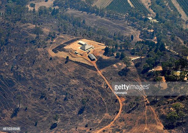An aerial view of the Sampson Flat bushfire from South Coast Helicopters on January 4 2015 in Adelaide Hills Australia
