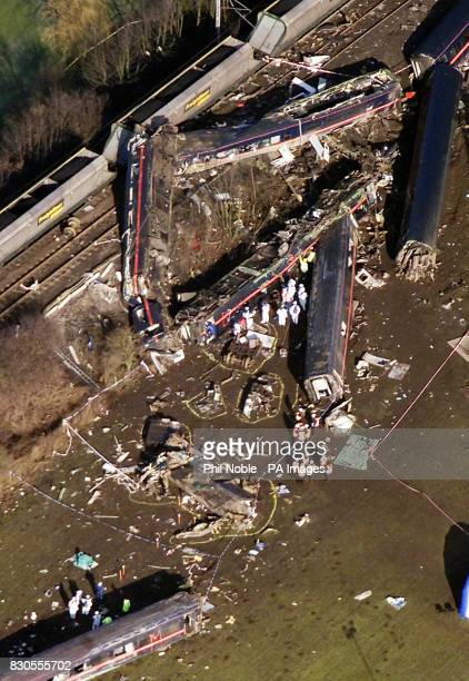 An aerial view of the scene of the horrific crash that killed 13 people in Selby North Yorks Rescue workers are recovering more bodies from the...