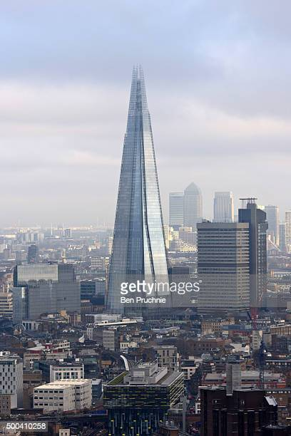 An aerial view of The Shard as seen from The London Eye on December 7 2015 in London United Kingdom