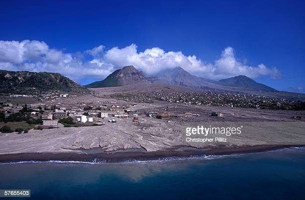 An aerial view of the slopes of the Soufriere Hills showing the destruction and complete loss of the capital of Monserrat Plymouth and St Patrick's...