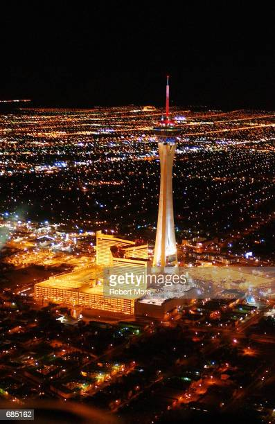 An aerial view of The Stratosphere Hotel and Casino is seen on May 30 2002 in Las Vegas Nevada