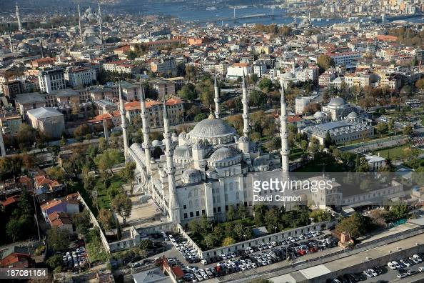 An aerial view of the Sultan Ahmed Mosque in the Old City of Istanbul on November 5 2013 in Istanbul Turkey