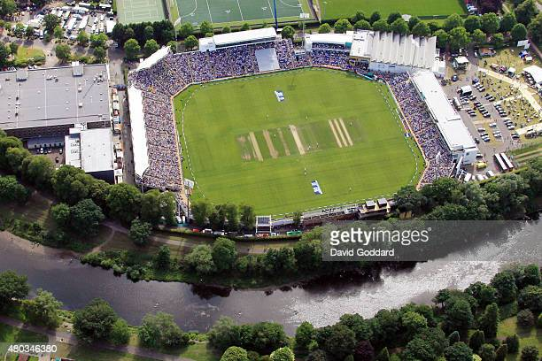 An aerial view of the SWALEC Stadium beside the River Taff during day three of the 1st Investec Ashes Test match between England and Australia on...