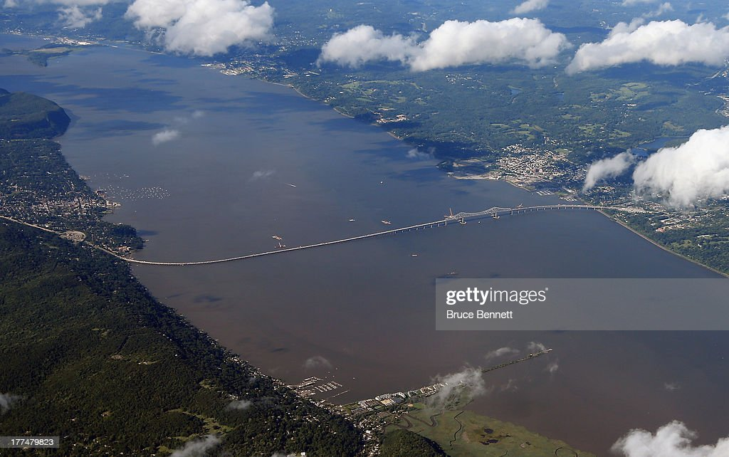 An aerial view of the Tappan Zee Bridge as photographed on August 14, 2013 in New York, New York.