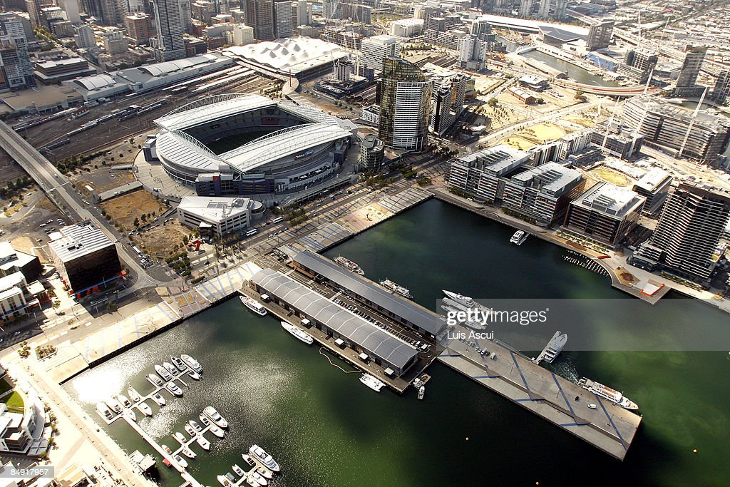 An aerial view of the Telstra Dome and the Docklands is seen on February 12 2009 in Melbourne Australia