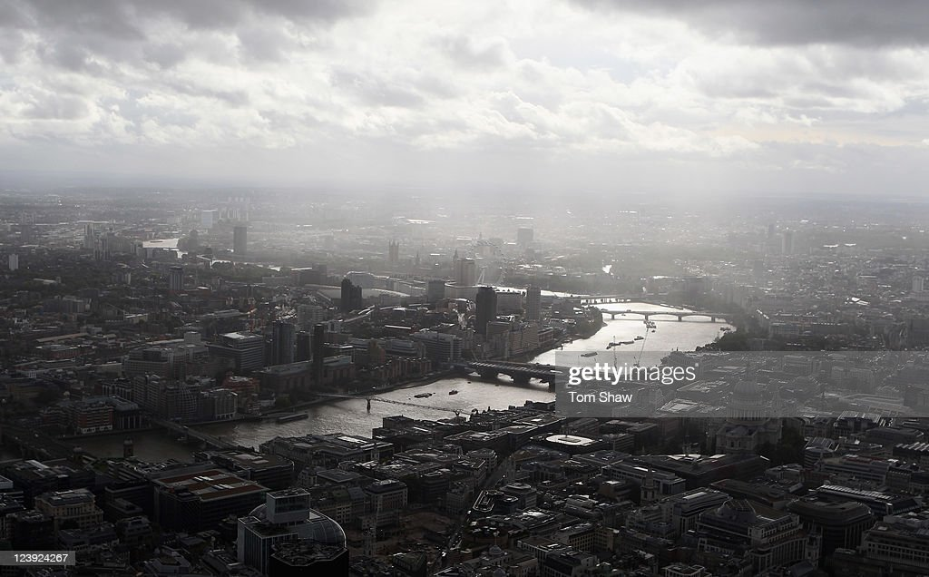 An aerial view of the Thames river in London from the air on September 5, 2011 in London, England.