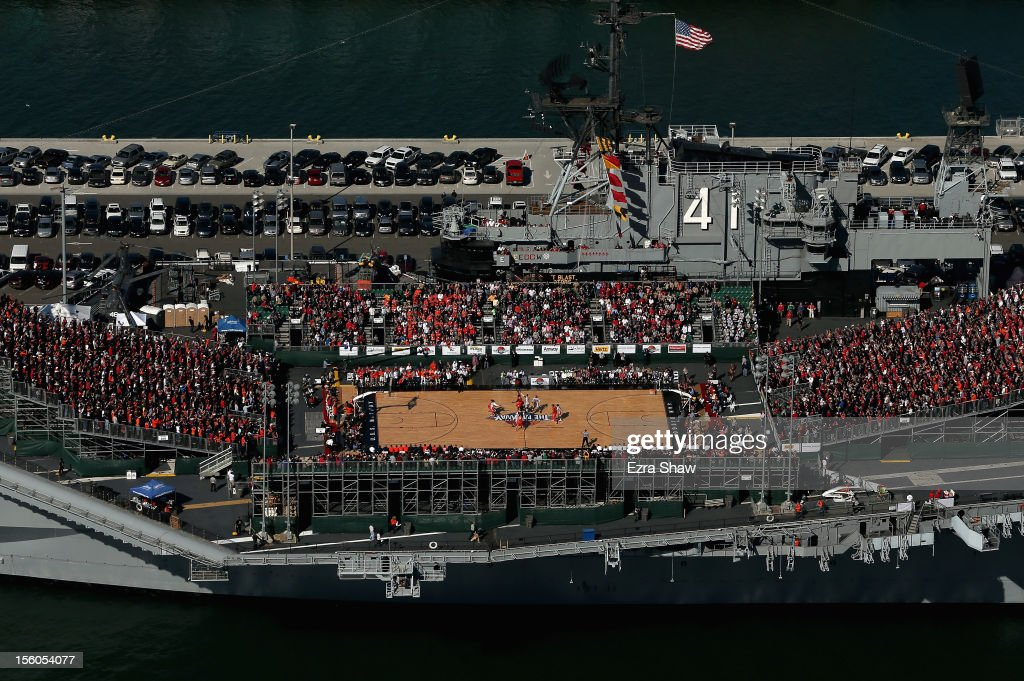 An aerial view of the tip off for the Battle On The Midway college basketball game played between the Syracuse Orange and the San Diego State Aztecs on board the USS Midway on November 11, 2012 in San Diego, California.