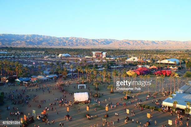 An aerial view of the Toyota Mane Stage during day 3 of 2017 Stagecoach California's Country Music Festival at the Empire Polo Club on April 30 2017...