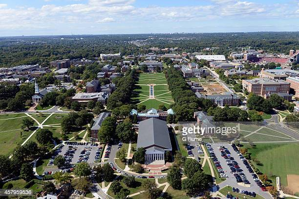 An aerial view of the University of Maryland campus on October 4 2014 in College Park Maryland