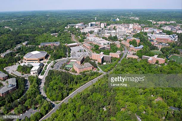 An aerial view of the University of North Carolina campus and surrounding area on April 21 2013 in Chapel Hill North Carolina