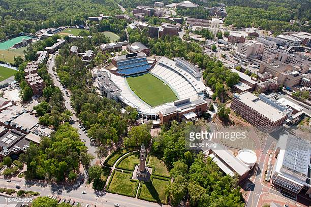 An aerial view of the University of North Carolina campus including Kenan Stadium University of North Carolina Hospitals and the MoreheadPatterson...