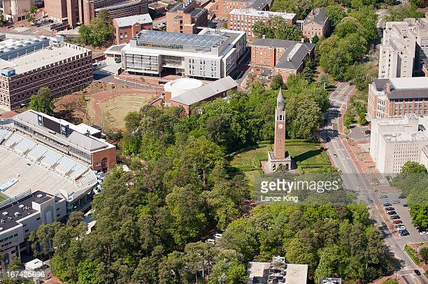 An aerial view of the University of North Carolina campus including the MoreheadPatterson Bell Tower on April 21 2013 in Chapel Hill North Carolina