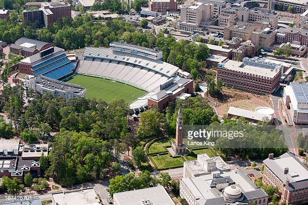 An aerial view of the University of North Carolina campus including Kenan Stadium and the MoreheadPatterson Bell Tower on April 21 2013 in Chapel...