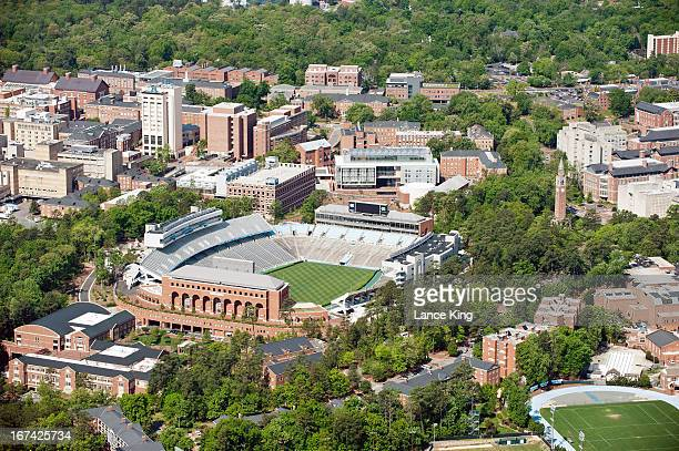 An aerial view of the University of North Carolina campus including Kenan Stadium on April 21 2013 in Chapel Hill North Carolina