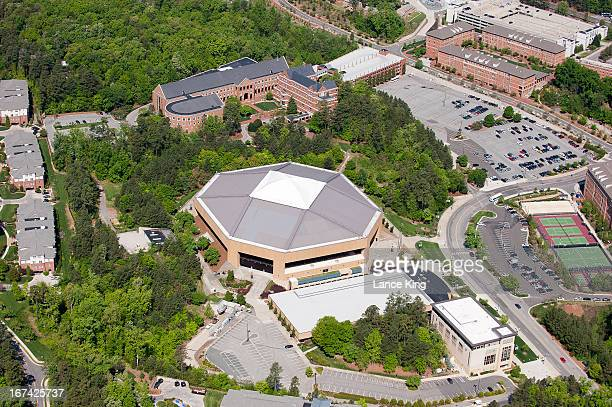An aerial view of the University of North Carolina campus including the Dean E Smith Center on April 21 2013 in Chapel Hill North Carolina