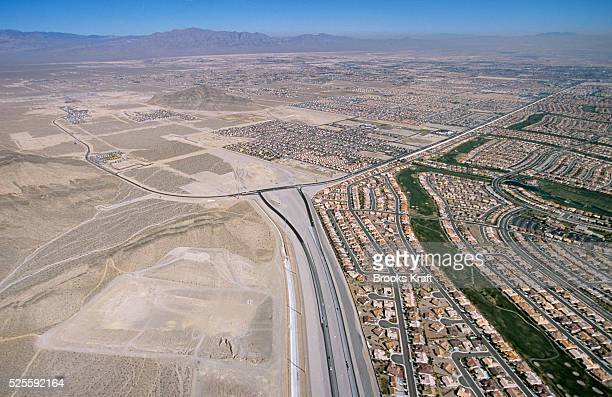 An aerial view of the urban sprawl in Las Vegas Nevada the fastest growing major city in America The city estimates a new home is completed every 20...
