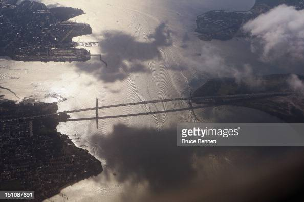 An aerial view of the VerrazanoNarrows Bridge as photographed from an airplane on August 26 2012 in New York New York