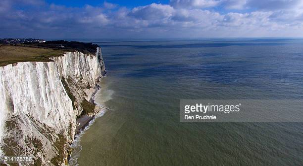 An aerial view of the white cliffs of Dover on March 7 2016 in Dover England The United Kingdom a member of the European Union an economic and...