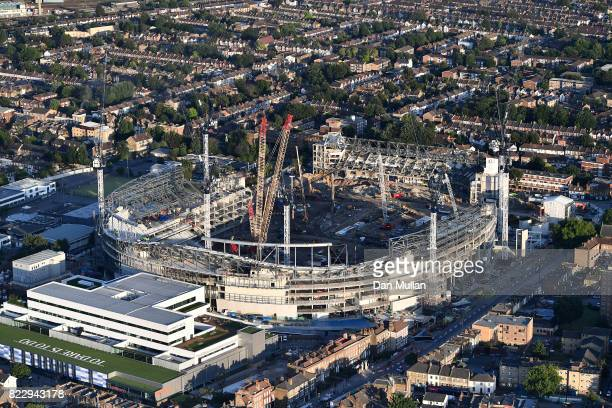 An aerial view of the White Hart Lane stadium as construction work continues on July 12 2017 in London England