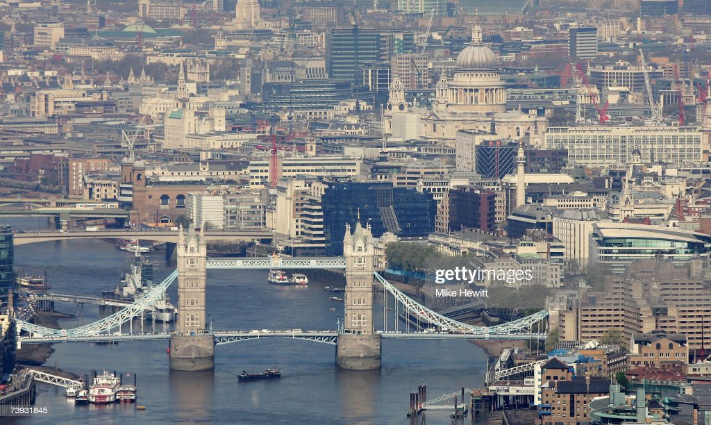 An aerial view of Tower Bridge and the city of London on April 20, 2007 in London , England.