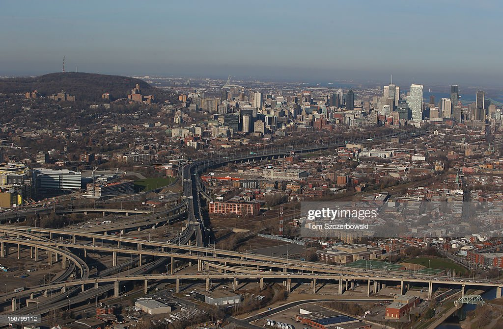 An aerial view of traffic on the Turcot Interchange and the Montreal skyline are seen from above on November 18, 2012 in Montreal, Quebec.