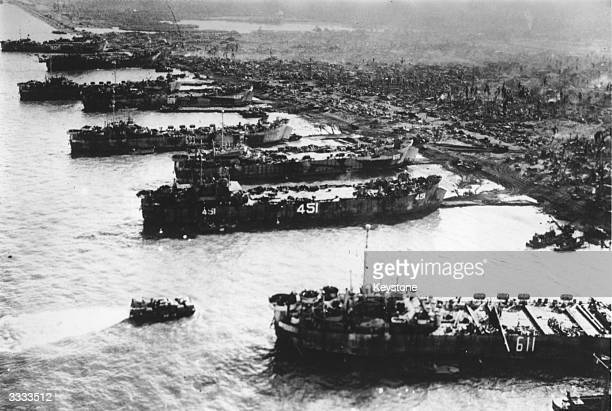 An aerial view of US cargo vessels landing supplies to support the ground troops on Leyte Island in the Philippines offensive