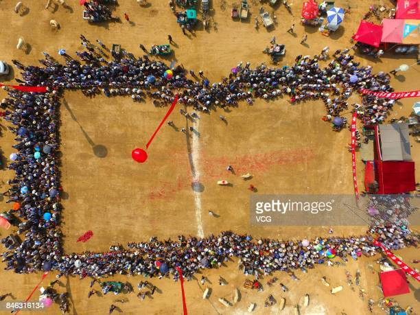 An aerial view of villagers watching a goat fight at Yanggu County on September 12 2017 in Liaocheng Shandong Province of China Over 200 goats from...